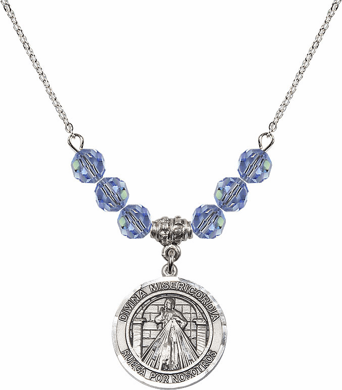 Round Misericordia/Jesus Divine Mercy Sterling Sapphire Swarovski Crystal Beaded Necklace by Bliss Mfg