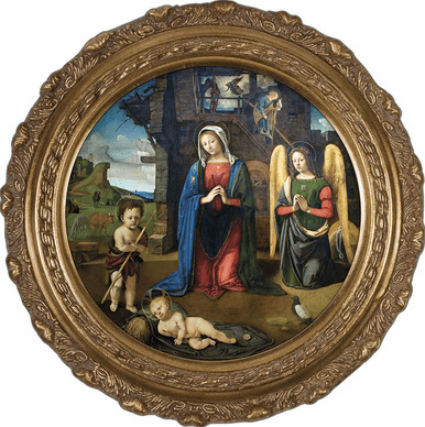 Round Nativity w/Kneeling Angel Canvas Wall Art Picture by Nelson