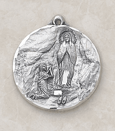 Round Our Lady of Lourdes Sterling Pendant w/Chain by Creed Jewelry