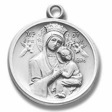 """Round Our Lady of Perpetual Help Medal w/18"""" Chain Necklace by HMH Religious"""
