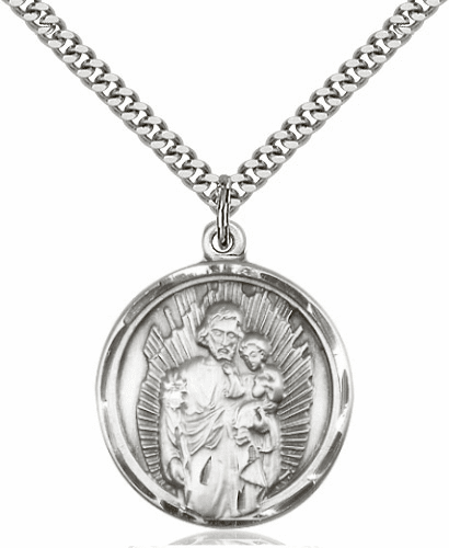 Round St Joseph and Jesus Patron Saint Silver Saint Medal by Bliss Manufacturing