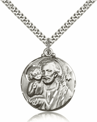 Round St Joseph Patron Saint Sterling Silver-Filled Patron Saint Medals by Bliss