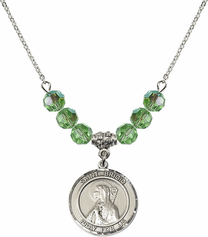 Round Sterling Silver St Brigid of Ireland Round Sterling August Peridot Swarovski Crystal Beaded Necklace by Bliss Mfg