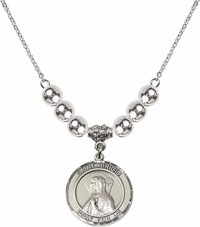 Round Sterling Silver St Brigid of Ireland Round Sterling Charm w/Silver Beads Necklace by Bliss Mfg
