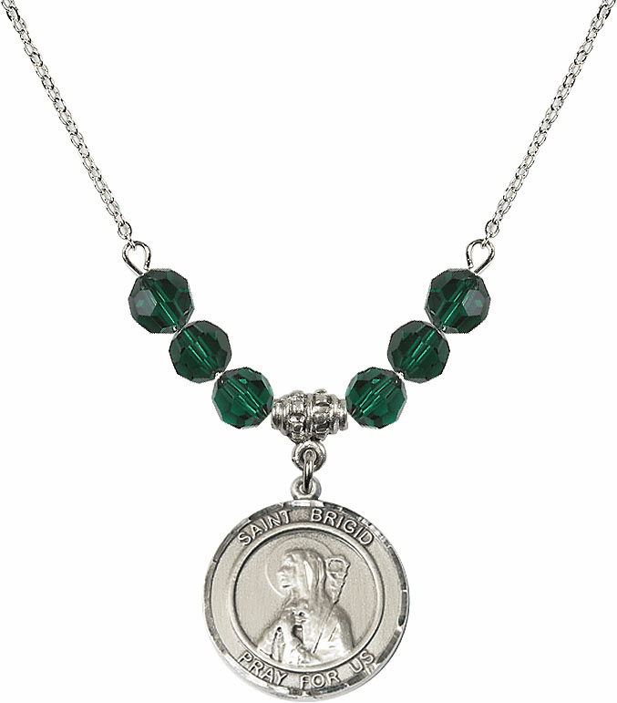 Round Sterling Silver St Brigid of Ireland Round Sterling May Emerald Swarovski Crystal Beaded Necklace by Bliss Mfg