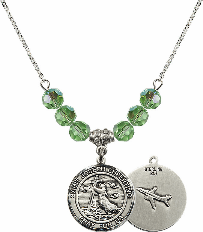 Round St Joseph of Cupertino Airplane Round Sterling August Peridot Swarovski Crystal Beaded Necklace by Bliss Mfg