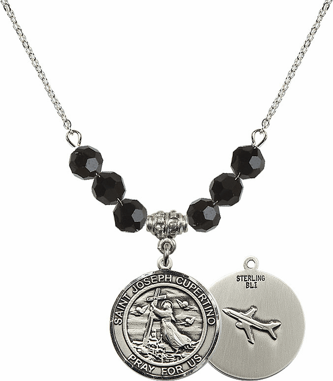 Round St Joseph of Cupertino Airplane Round Sterling Black Jet Swarovski Crystal Beaded Necklace by Bliss Mfg