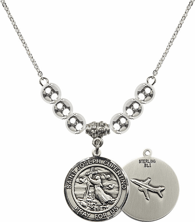 Round St Joseph of Cupertino Airplane Round Sterling Charm w/Silver Beads Necklace by Bliss Mfg