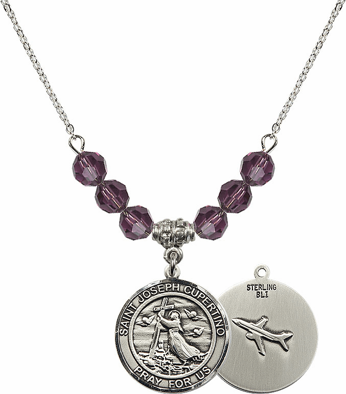 Round St Joseph of Cupertino Airplane Round Sterling February Amethyst Swarovski Crystal Beaded Necklace by Bliss Mfg