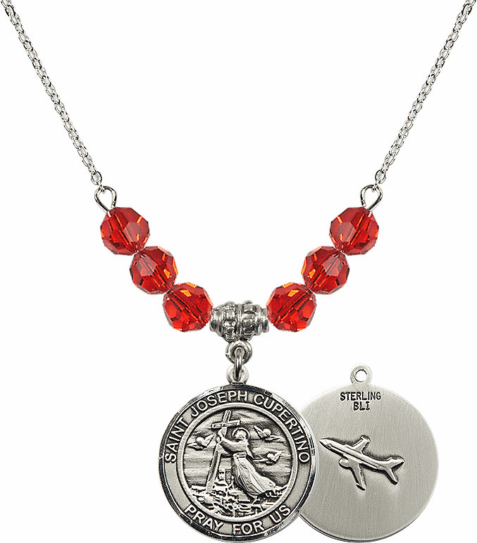 Round St Joseph of Cupertino Airplane Round Sterling July Ruby Swarovski Crystal Beaded Necklace by Bliss Mfg