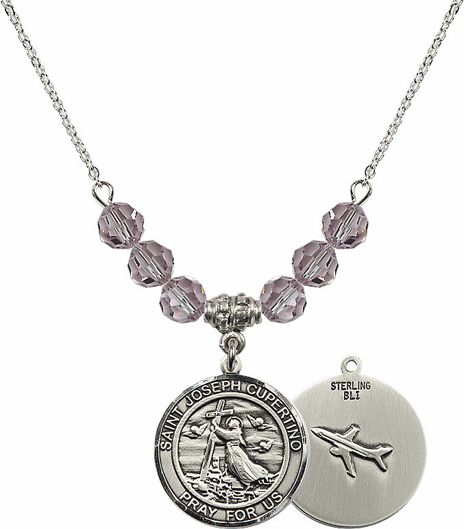 Round St Joseph of Cupertino Airplane Round Sterling June Lt Amethyst Swarovski Crystal Beaded Necklace by Bliss Mfg