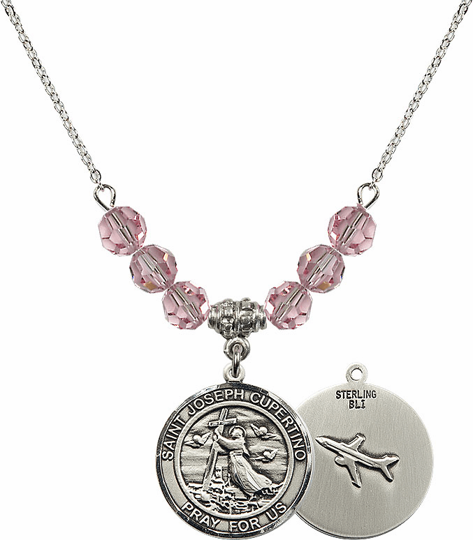 Round St Joseph of Cupertino Airplane Round Sterling Lt Rose Swarovski Crystal Beaded Necklace by Bliss Mfg
