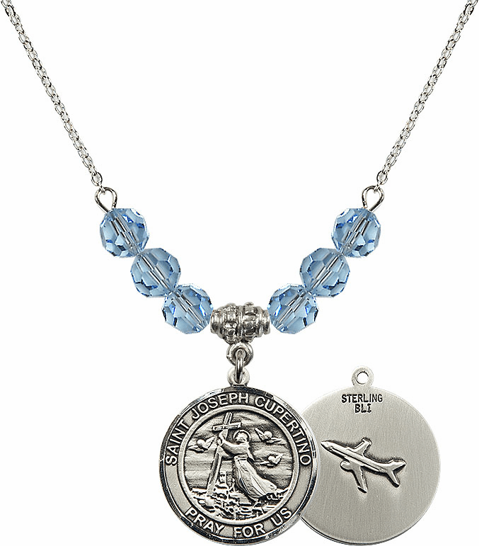 Round St Joseph of Cupertino Airplane Round Sterling March Aqua Swarovski Crystal Beaded Necklace by Bliss Mfg