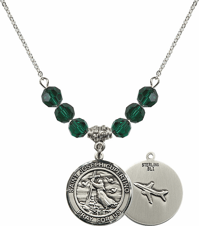 Round St Joseph of Cupertino Airplane Round Sterling May Emerald Swarovski Crystal Beaded Necklace by Bliss Mfg