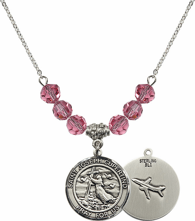 Round St Joseph of Cupertino Airplane Round Sterling October Rose Swarovski Crystal Beaded Necklace by Bliss Mfg