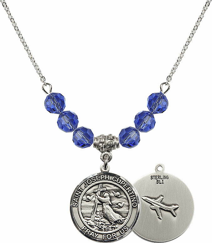 Round St Joseph of Cupertino Airplane Round Sterling September Sapphire Swarovski Crystal Beaded Necklace by Bliss Mfg