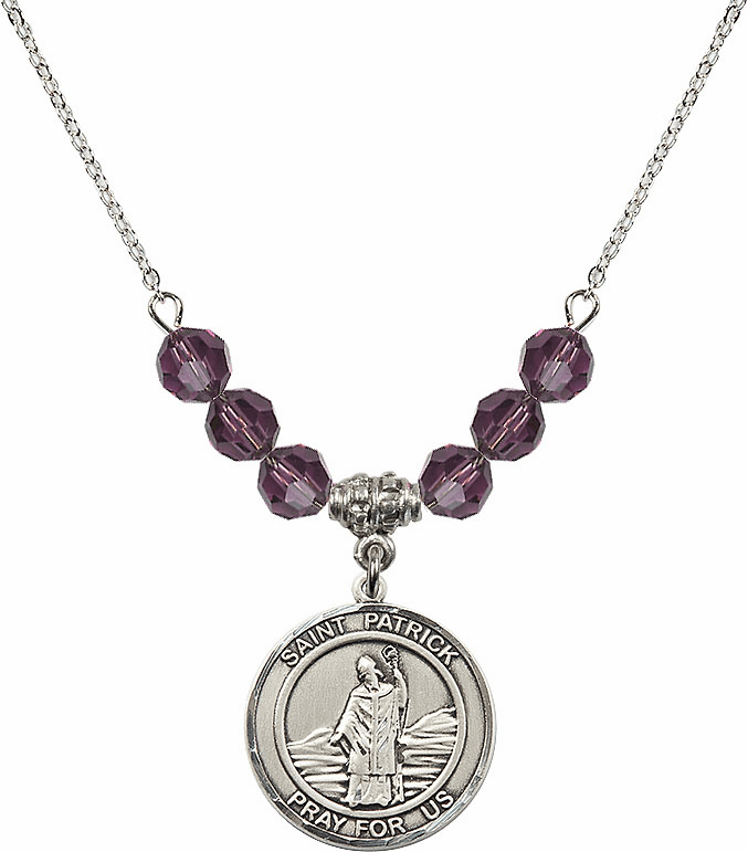 Round Sterling Silver St Patrick Round Sterling February Amethyst Swarovski Crystal Beaded Necklace by Bliss Mfg