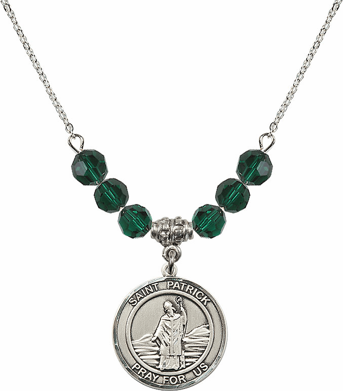 Round Sterling Silver St Patrick Round Sterling May Emerald Swarovski Crystal Beaded Necklace by Bliss Mfg