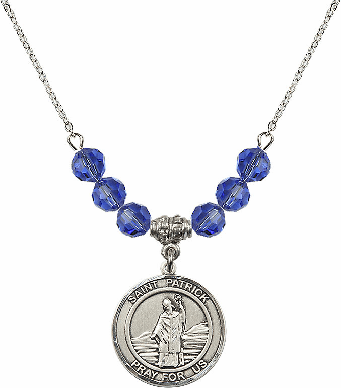Round Sterling Silver St Patrick Round Sterling September Sapphire Swarovski Crystal Beaded Necklace by Bliss Mfg