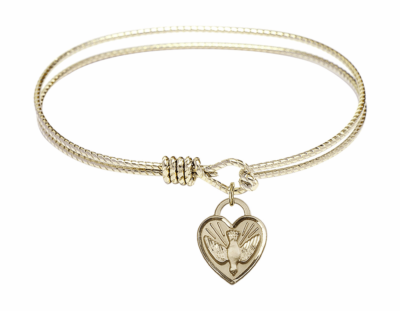 Round Twist Eye Hook Bangle Bracelet w/Dove Confirmation Heart Charm by Bliss Mfg