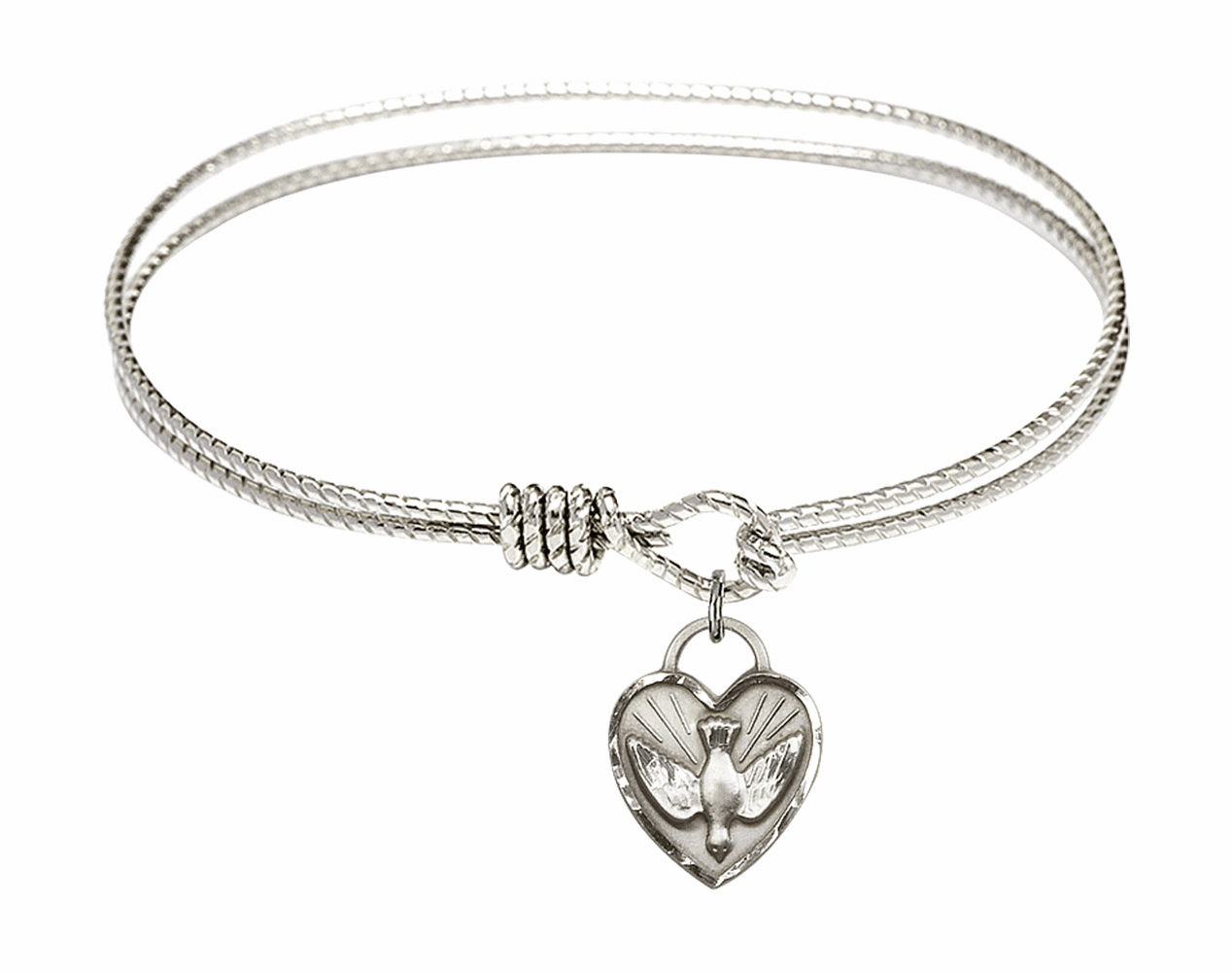 Round Twist Eye Hook Bangle Bracelet w/Dove Confirmation Heart Sterling Silver Charm by Bliss Mfg