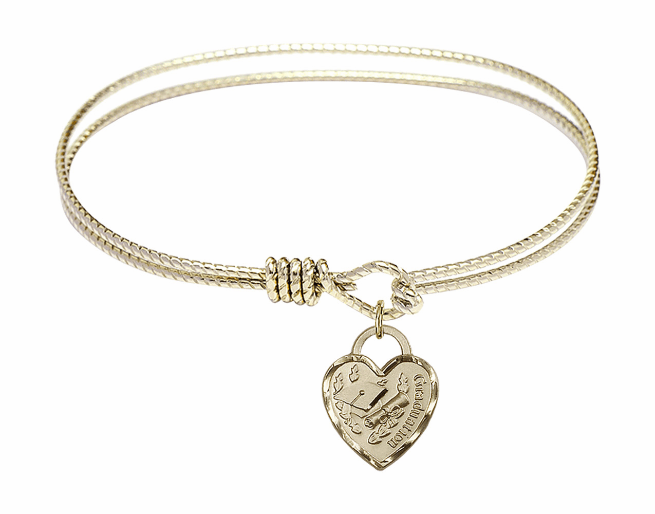 Round Twist Eye Hook Bangle Bracelet w/Graduation Heart Charm by Bliss Mfg