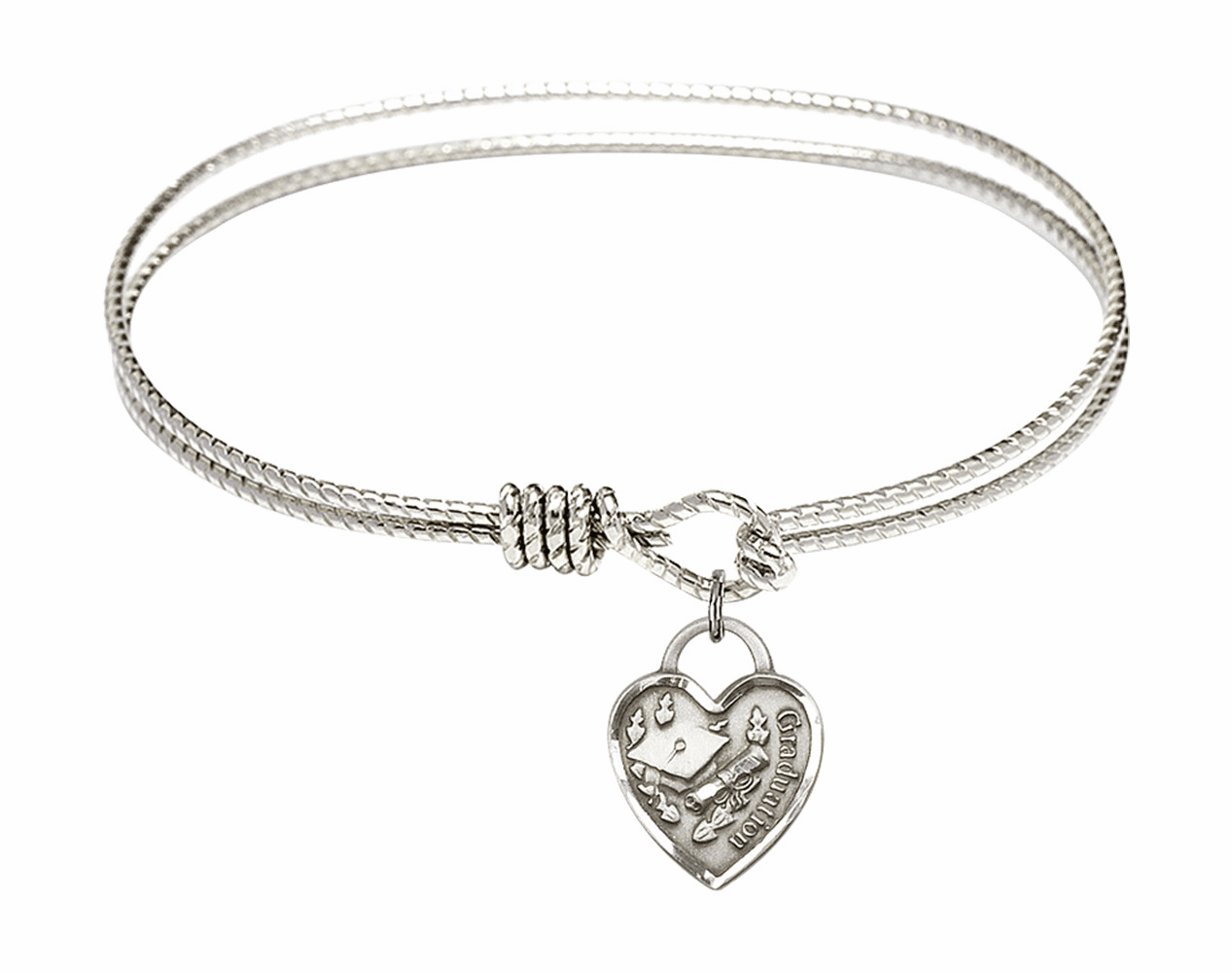 Round Twist Eye Hook Bangle Bracelet w/Graduation Heart Sterling Silver Charm by Bliss Mfg