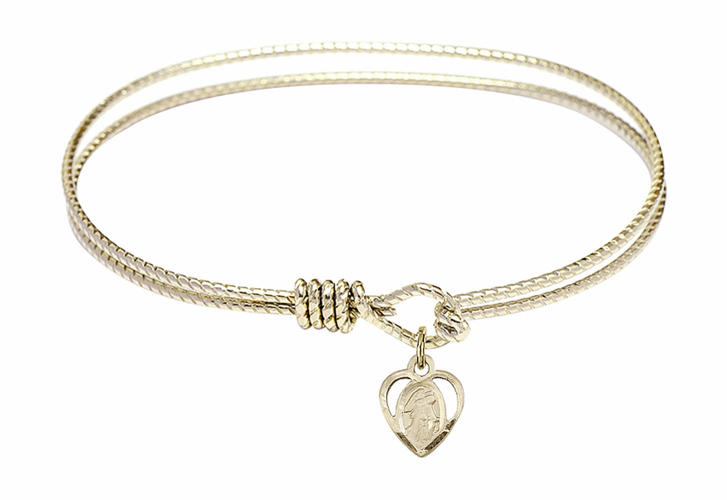 Round Twist Eye Hook Bangle Bracelet w/Guardian Angel Heart Charm by Bliss Mfg