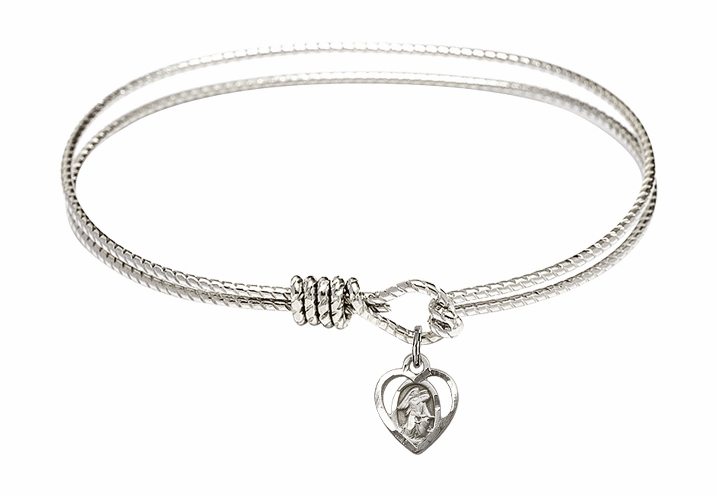 Round Twist Eye Hook Bangle Bracelet w/Guardian Angel Heart Sterling Silver Charm by Bliss Mfg