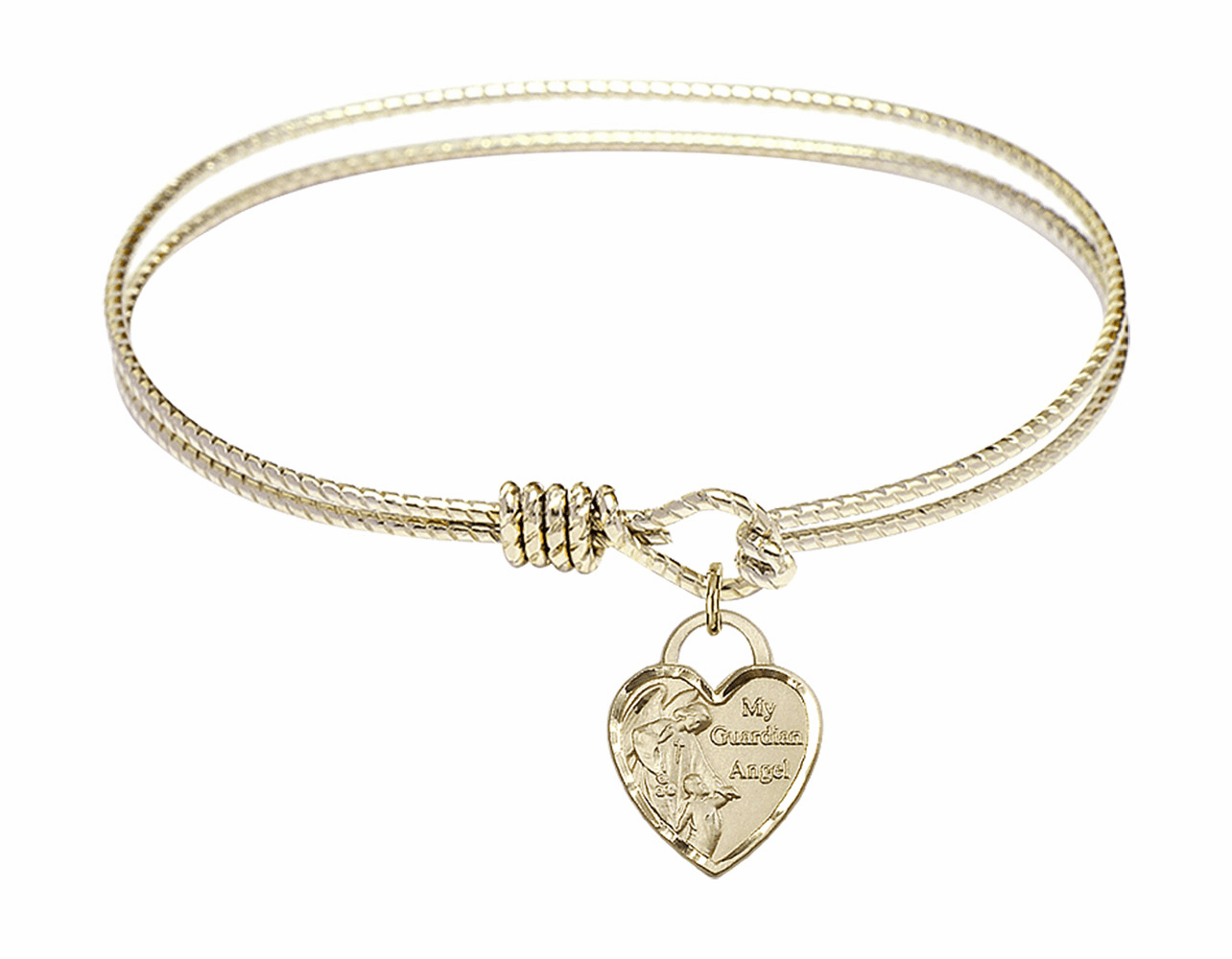 Round Twist Eye Hook Bangle Bracelet w/Heart My Guardian Angel Charm by Bliss Mfg