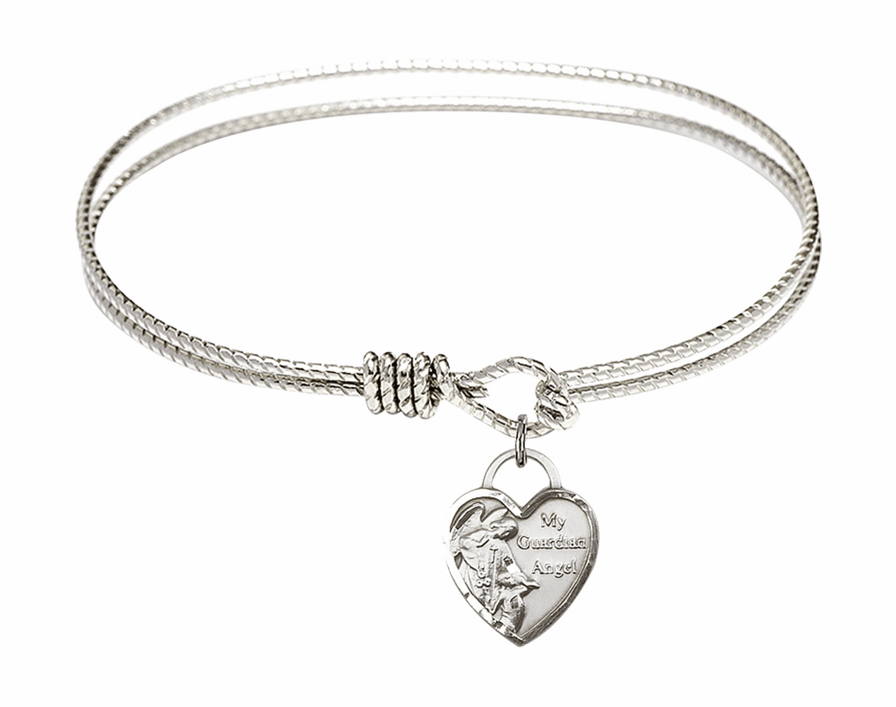 Round Twist Eye Hook Bangle Bracelet w/Heart My Guardian Angel Sterling Silver Charm by Bliss Mfg