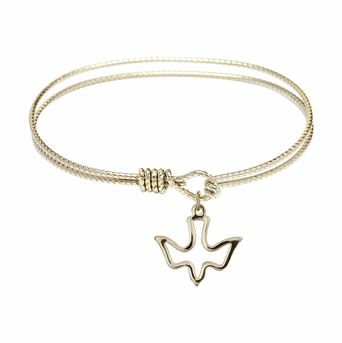Round Twist Eye Hook Bangle Bracelet w/Holy Spirit Dove Charm by Bliss Mfg