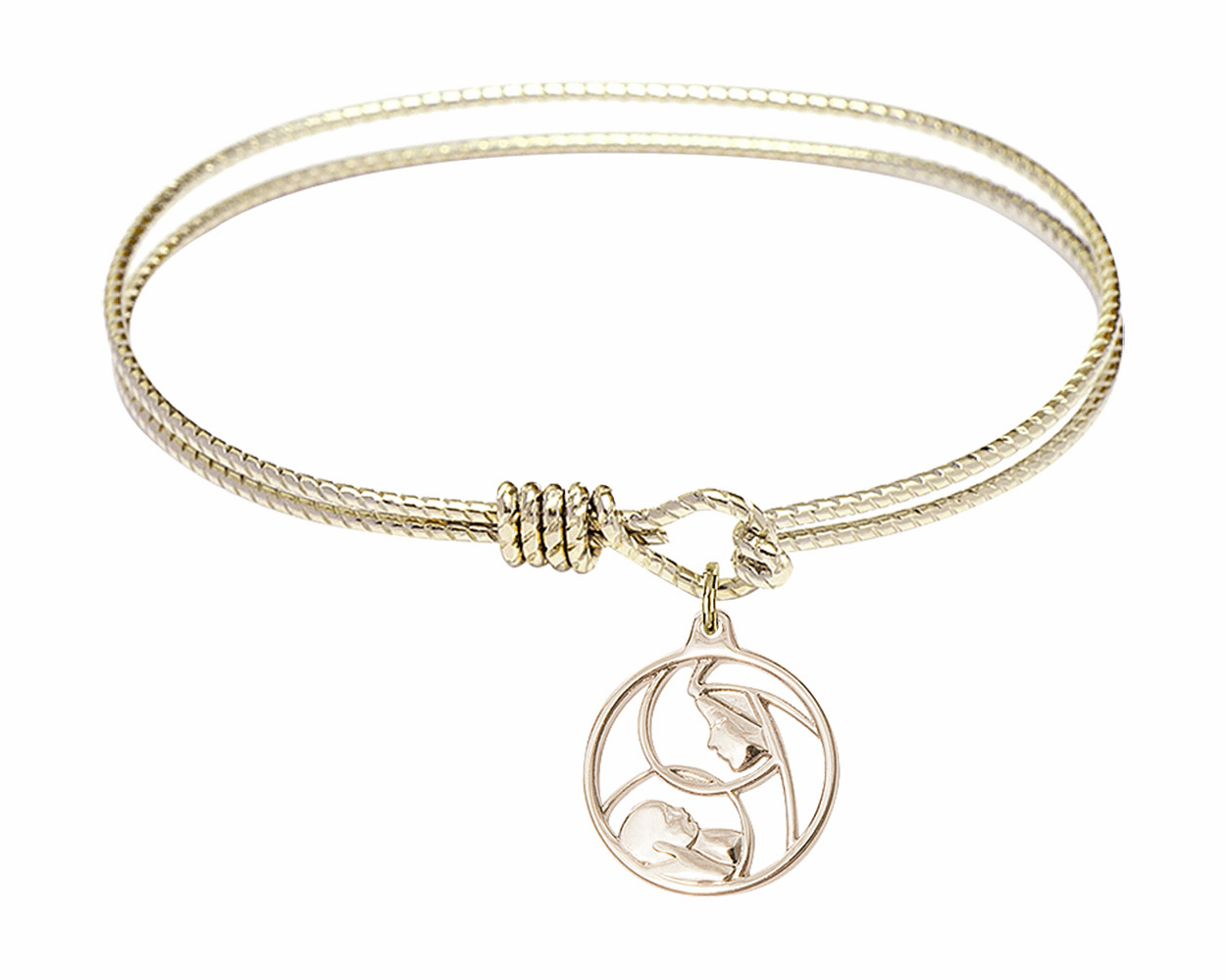 Round Twist Eye Hook Bangle Bracelet w/Madonna and Child Charm by Bliss Mfg
