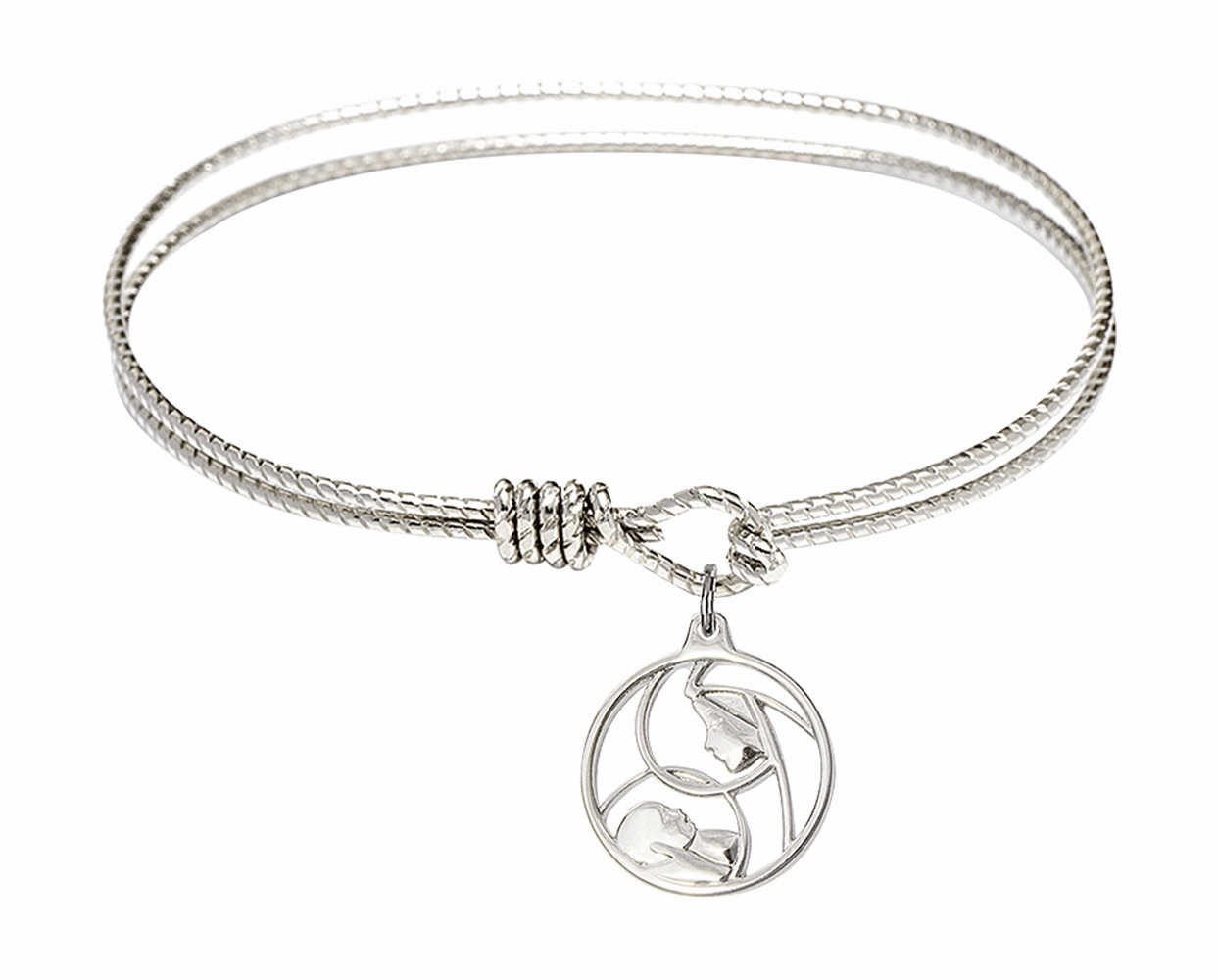 Round Twist Eye Hook Bangle Bracelet w/Madonna and Child Sterling Silver Charm by Bliss Mfg