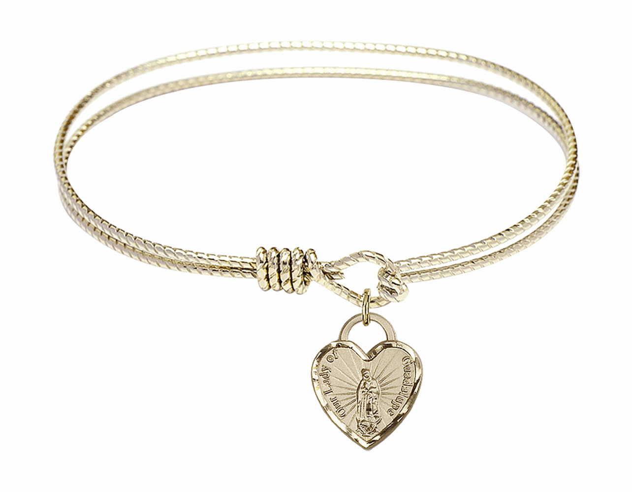 Round Twist Eye Hook Bangle Bracelet w/Our Lady of Guadalupe Heart Charm by Bliss Mfg