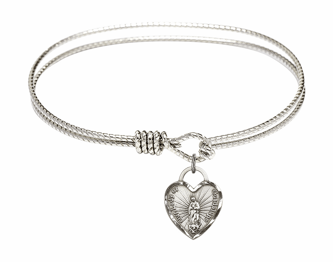 Round Twist Eye Hook Bangle Bracelet w/Our Lady of Guadalupe Heart Sterling Silver Charm by Bliss Mfg