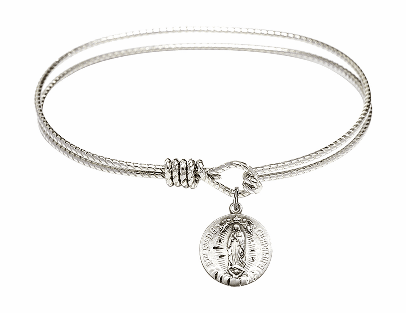 Round Twist Eye Hook Bangle Bracelet w/Our Lady of Guadalupe Sterling Silver Charm by Bliss Mfg