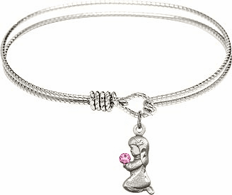 Round Twist Eye Hook Bangle Bracelet w/Pink Crystal Praying Girl Sterling Silver Charm by Bliss Mfg
