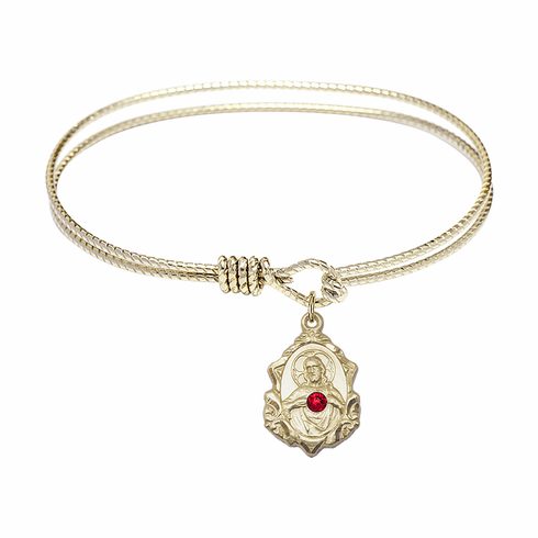 Round Twist Eye Hook Bangle Bracelet w/Red Crystal Scapular Crucifix Charm by Bliss Mfg