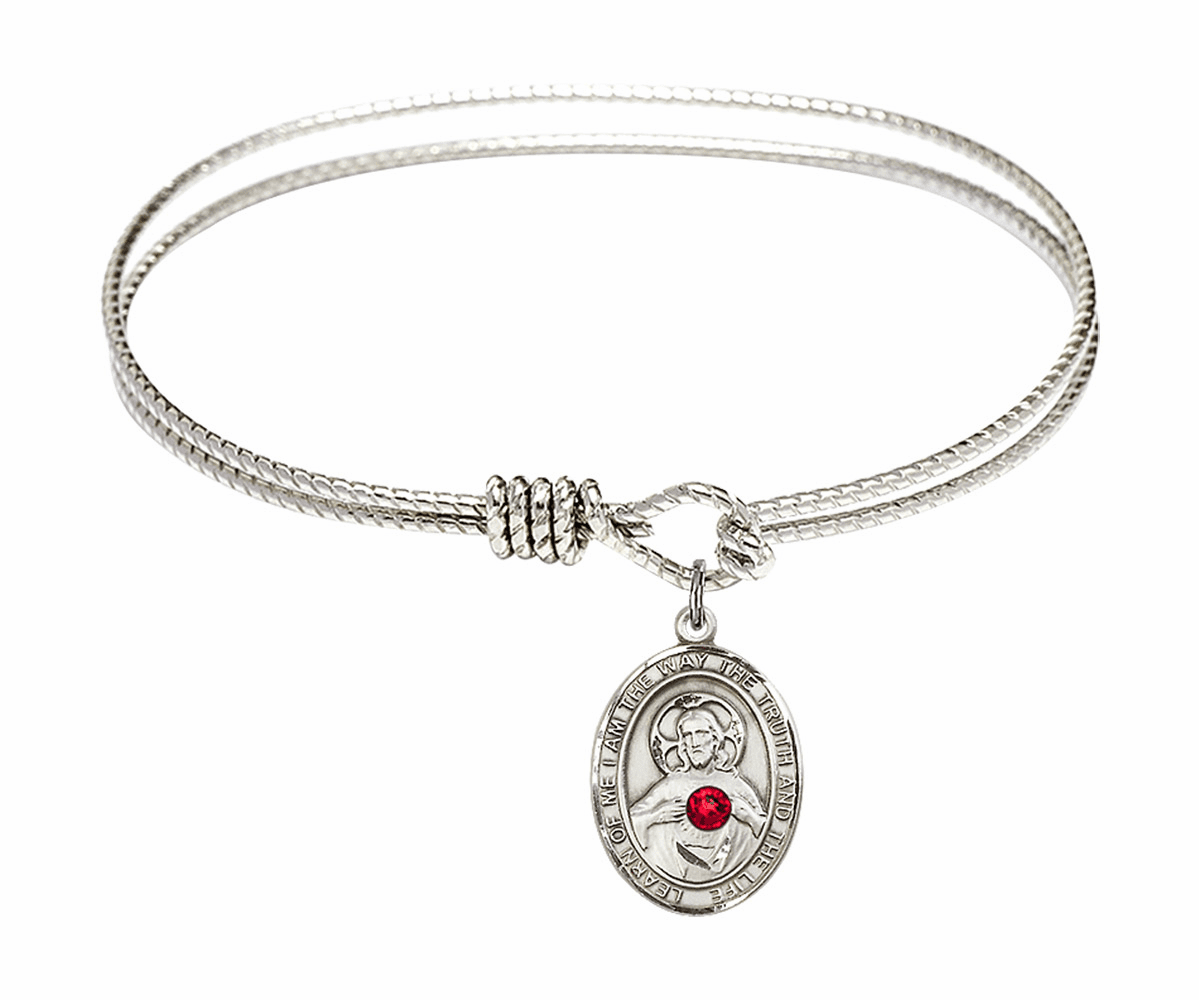 Round Twist Eye Hook Bangle Bracelet w/Red Crystal Scapular Sterling Silver Charm by Bliss Mfg