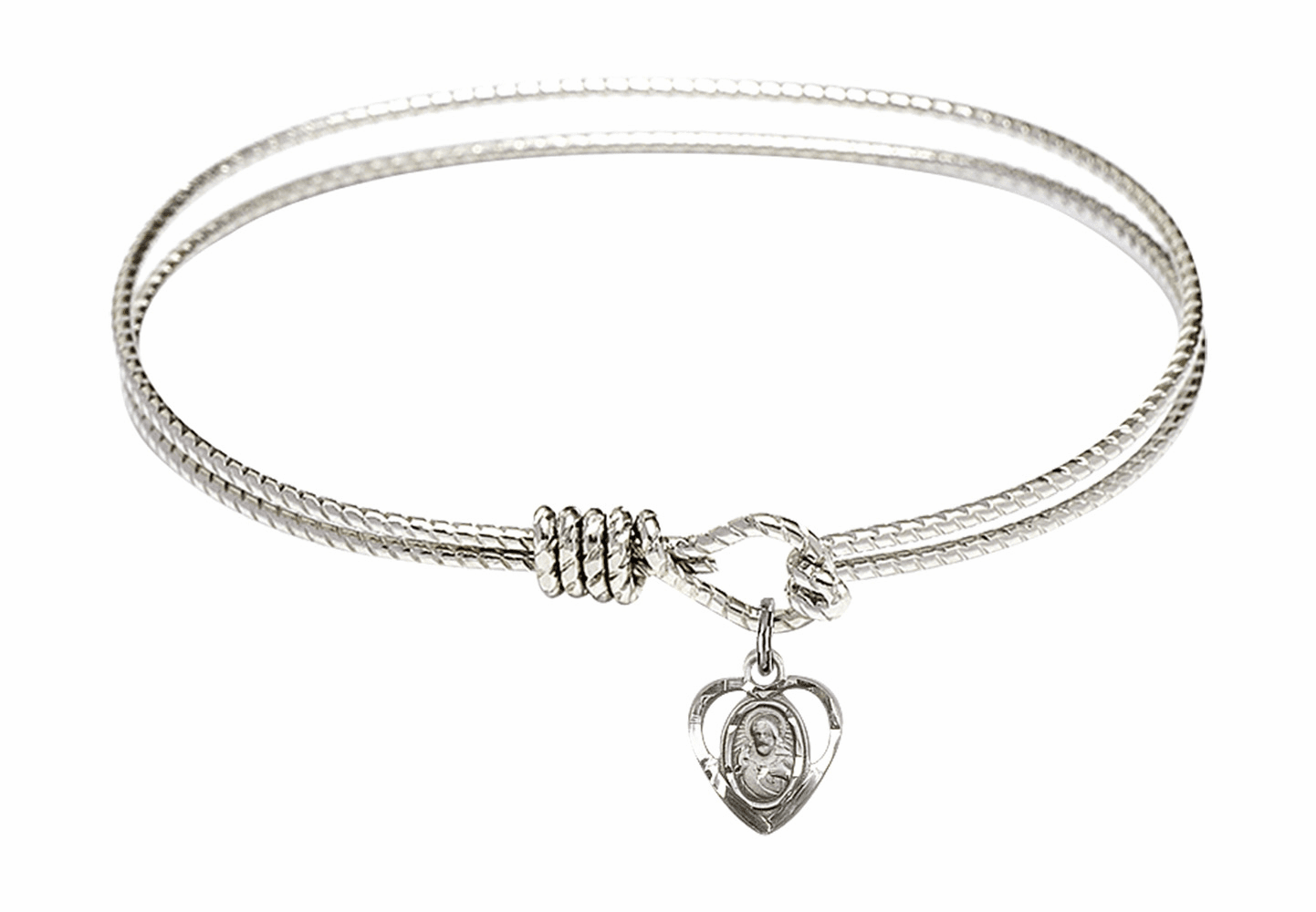 Round Twist Eye Hook Bangle Bracelet w/Sacred Heart Sterling Silver Charm by Bliss Mfg
