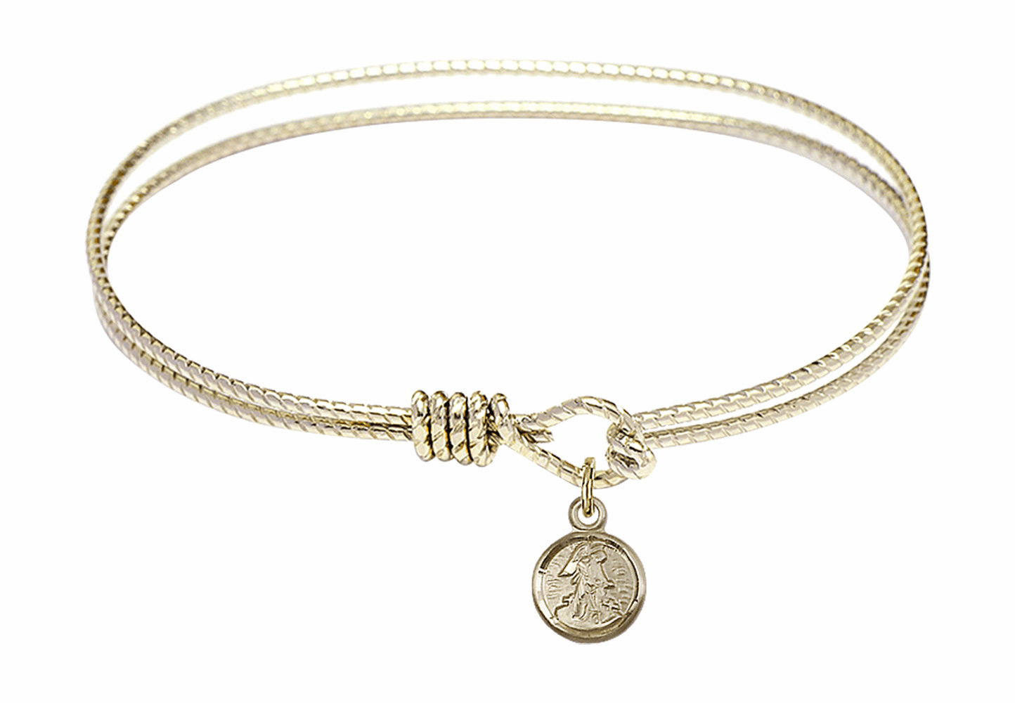 Round Twist Eye Hook Bangle Bracelet w/Small Guardian Angel Charm by Bliss Mfg