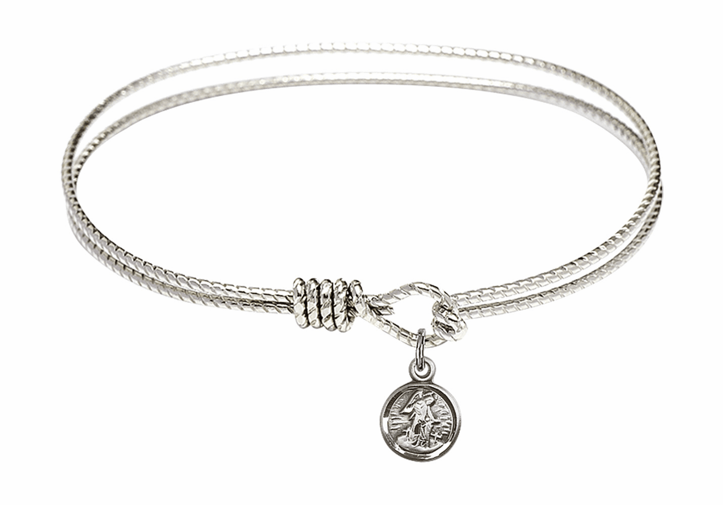 Round Twist Eye Hook Bangle Bracelet w/Small Guardian Angel Sterling Silver Charm by Bliss Mfg
