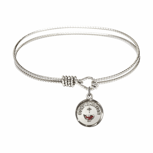 Round Twist Eye Hook Bangle Bracelet with a Confirmation Charm by Bliss Mfg