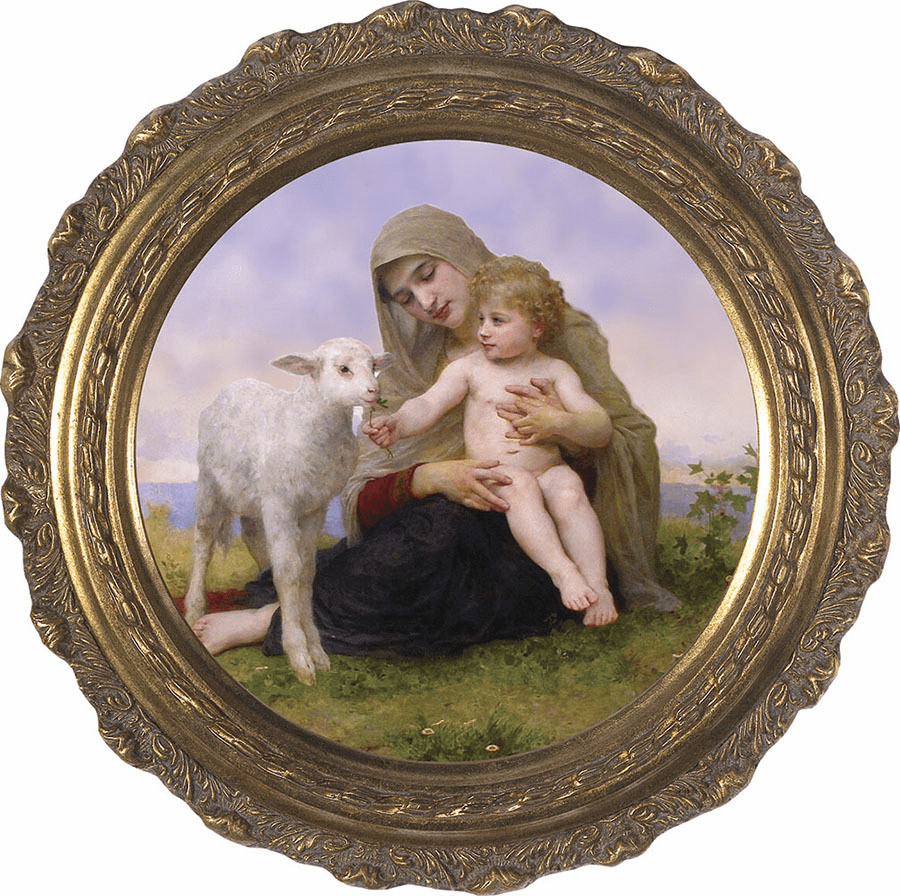 Round Virgin and the Lamb Canvas Framed Wall Art Picture by Nelson