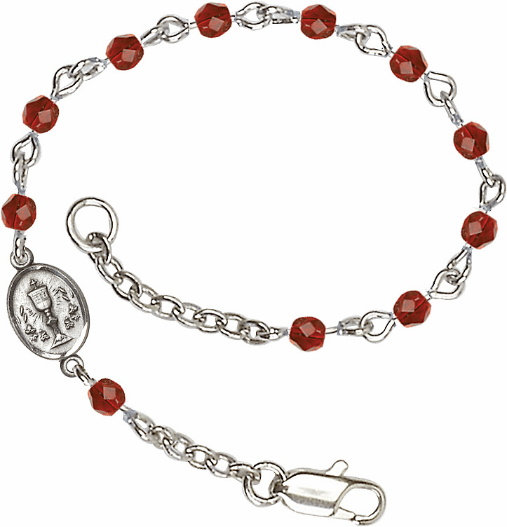 Ruby Checo Fire Polished Beads w/Pewter Communion Chalice Charm Bracelet by Bliss Mfg