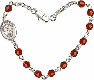 Ruby Checo Fire Polished Beads w/Pewter Confirmation Charm Bracelet by Bliss Mfg