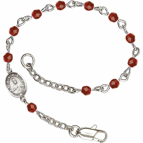 Ruby Checo Fire Polished Beads w/Pewter Sacred Heart Scapular Charm Bracelet by Bliss Mfg