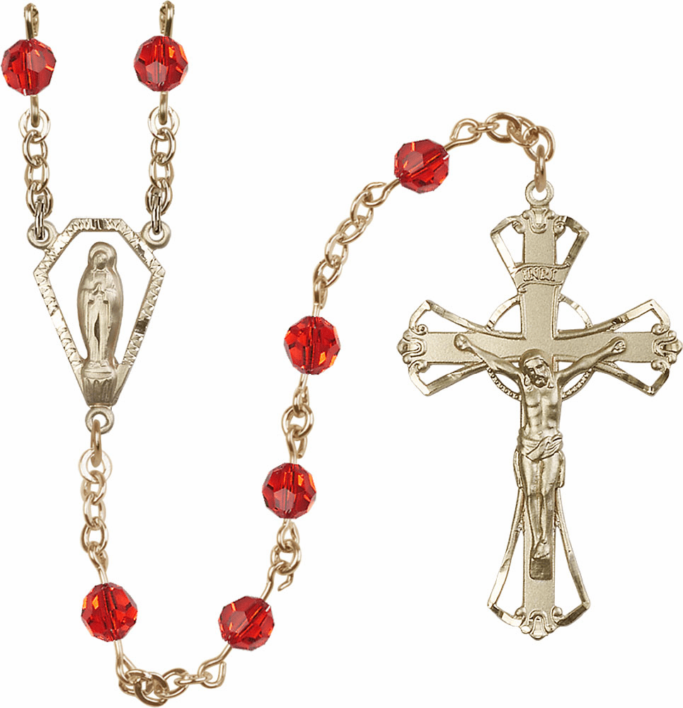 Ruby Red 6mm AB Swarovski Crystal Praying Madonna Gold-filled Rosary by Bliss