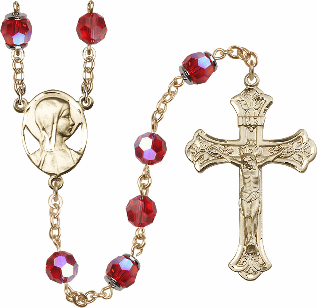 Ruby Red Swarovski 8mm Aurora Borealis Crystal 14kt Gold Rosary by Bliss